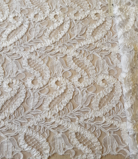 White 3D lace fabric