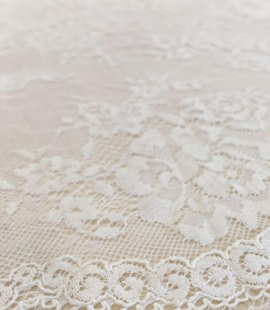 Ivory flowers with off white net chantilly lace
