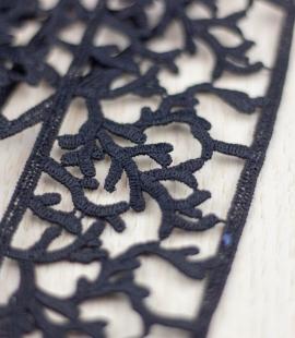 Black organic pattern macrame lace trimming