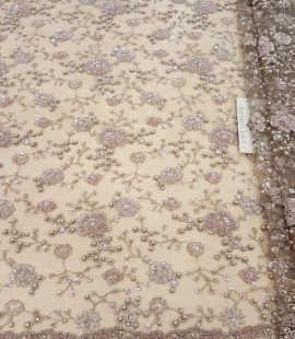 Brown beaded lace fabric