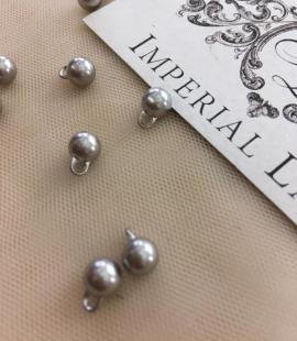 Silver pearl button