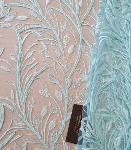 Tiffany blue leaf pattern embroidery on tulle fabric