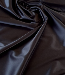 Dark blue polyester with elastane satin fabric