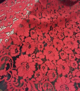 Red with Black Lace Fabric