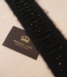 Black with crystal stripes 35cm length wool grosgrain ribbon application