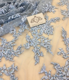 Light blue with crystals embroidery on tulle fabric