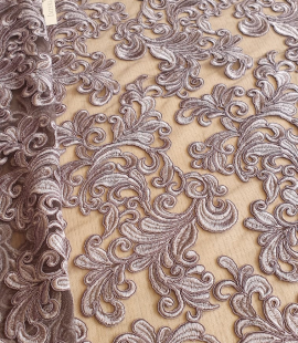 Grey embroidery lace fabric