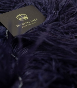 Dark indigo lilac natural ostrich feather