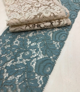Blue-green with grey shade vintage style lace trim