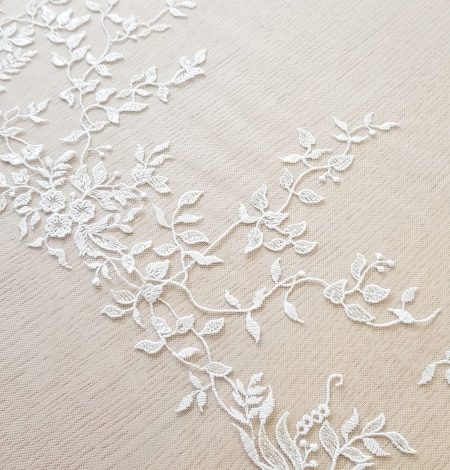 Imperial Lace floral organic embroidery on tulle fabric. Photo 8