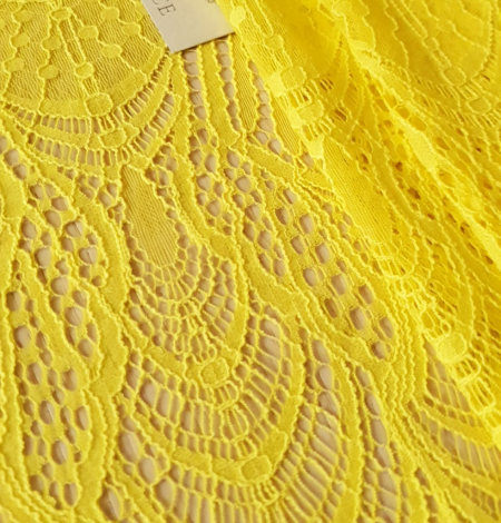 Yellow lace fabric. Photo 4