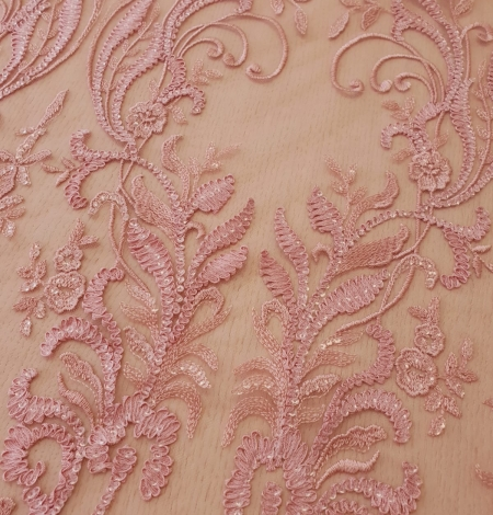 Raspberry pink floral pattern embroidery with sequins on soft tulle fabric. Photo 6