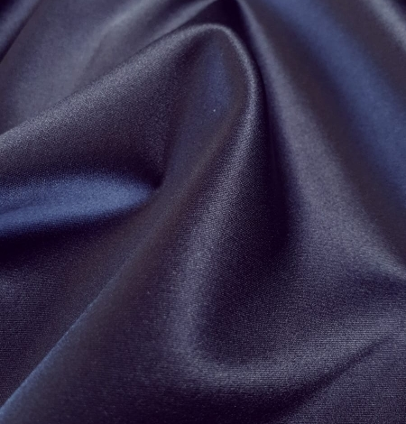 Dark blue satin fabric with elastane . Photo 3