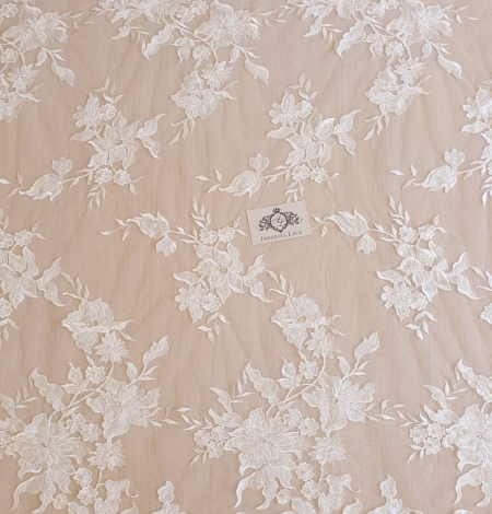 Ivory beaded floral pattern embroidery on tulle fabric. Photo 5