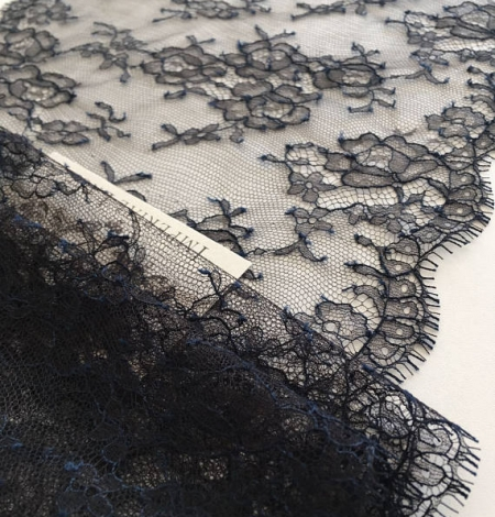 Navy blue chantilly lace trim from France. Photo 3