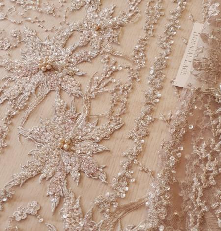Multicolor beaded lace fabric. Photo 2