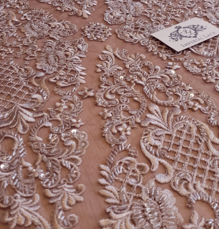 Luxury brown beaded lace fabric. Photo 7