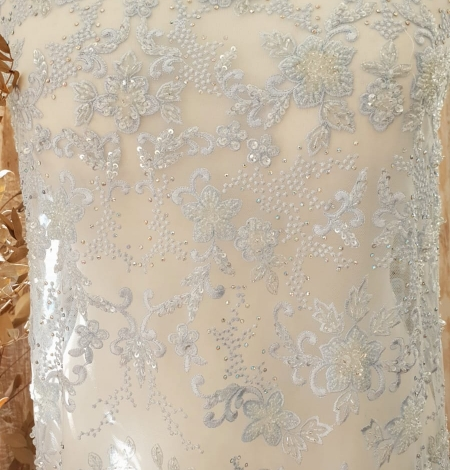 Light blue beaded embroidery on tulle fabric. Photo 8