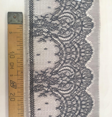 Grey Chantilly Lace Trim from France. Photo 5