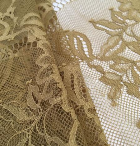 Khaki green lace fabric. Photo 4