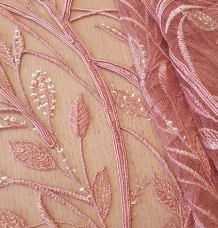 Raspberry pink leaf pattern embroidery with sequins on soft tulle fabric. Photo 2