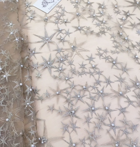 Gold star embroidery base tulle with pearl.. Photo 1