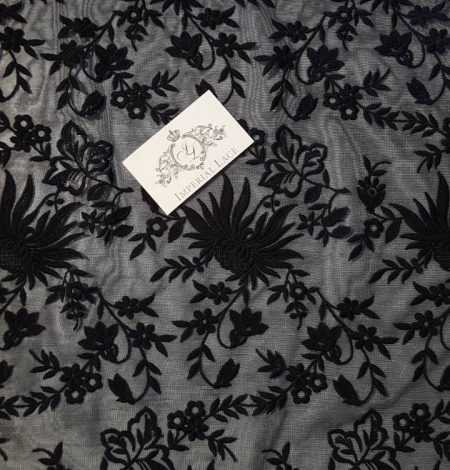 Black embroidery lace fabric. Photo 3