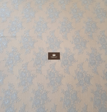 Bluish grey floral pattern chantilly lace fabric. Photo 7