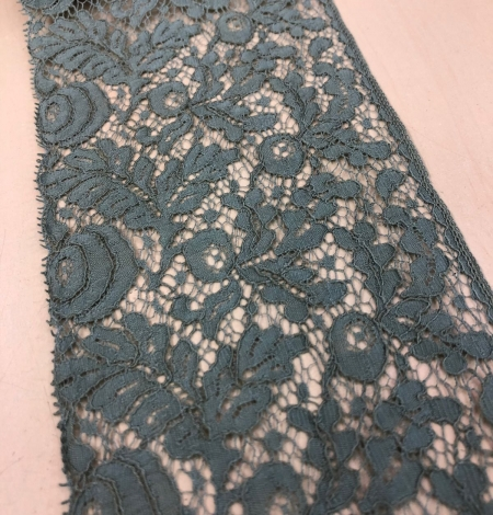 Blue-green with grey shade vintage style lace trim. Photo 6