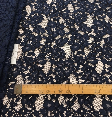 Dark blue lace fabric. Photo 8