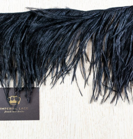 Black soft natural ostrich feather. Photo 6