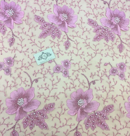 Lilac 3D lace fabric. Photo 2