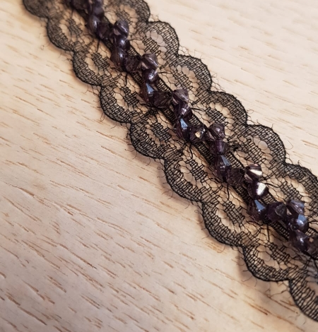 Black with dark violet beads chantilly lace trimming. Photo 2