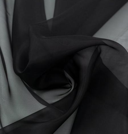 Black silk organza fabric . Photo 2
