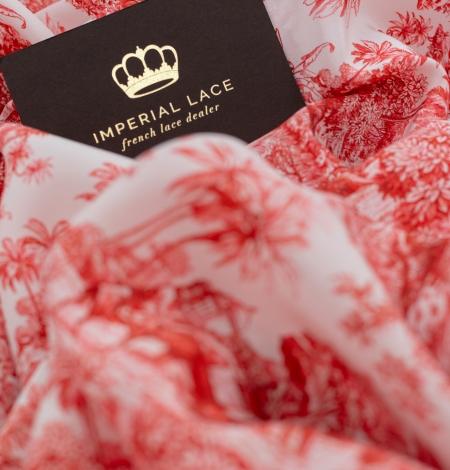Red with orange shade printed silk crepe fabric. Photo 4