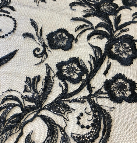 Black beaded romantic embroidery on tulle fabric. Photo 4