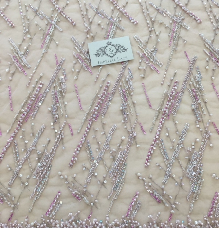 Pink beaded lace fabric. Photo 5