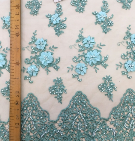 Green 3D lace fabric. Photo 5