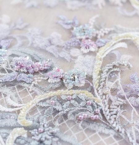 Greenish with purple embroidery on tulle fabric . Photo 3