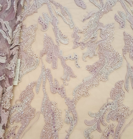 Old rose beaded lace fabric. Photo 6