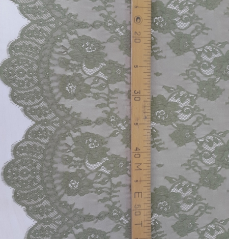 Lace fabric sludge green color. Photo 5