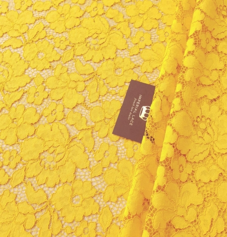 Yellow guipure lace fabric. Photo 2