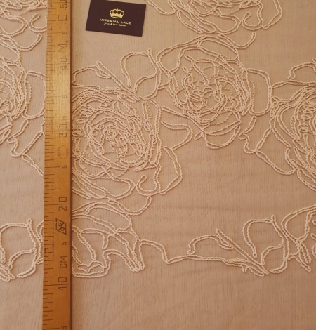 Light peach color big floral pattern thick thread embroidery on tulle fabric. Photo 10