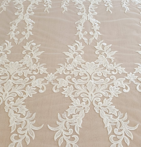 Ivory thick embroidery beaded lace fabric. Photo 6