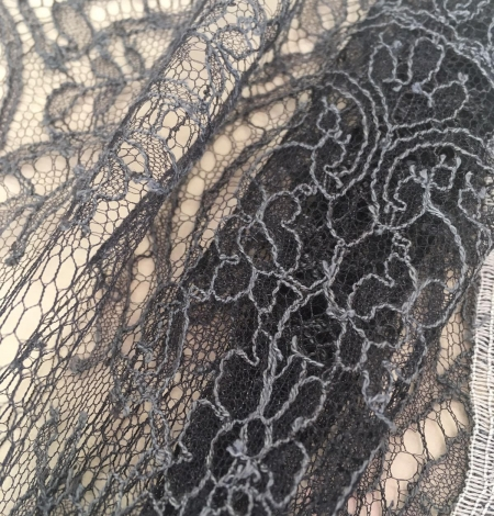 Grey Chantilly Lace Trim from France. Photo 2