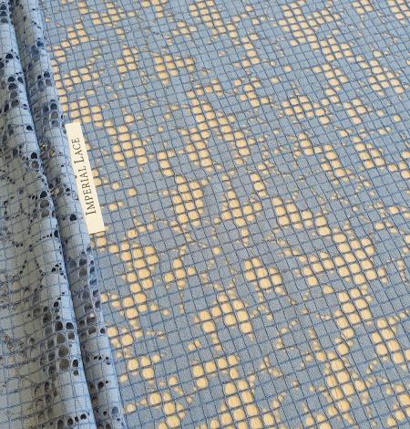 Blue floral guipure lace fabric. Photo 1