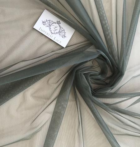 Dark khaki green tulle fabric. Photo 3
