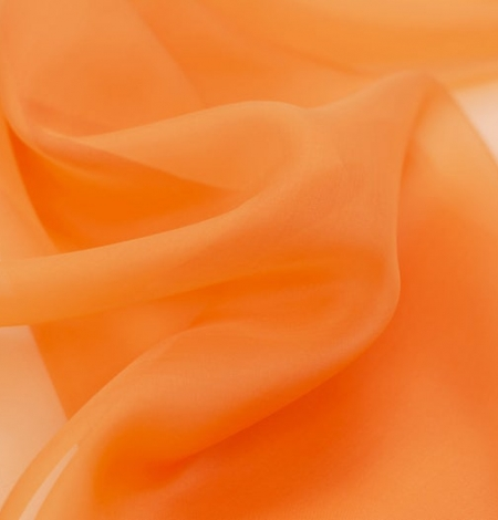 Orange silk organza fabric. Photo 2