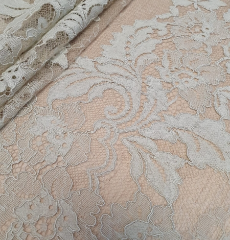Mint on beige tulle guipure lace fabric. Photo 7