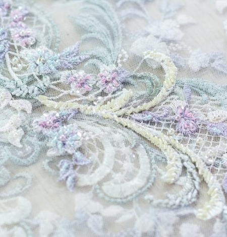 Greenish with purple embroidery on tulle fabric . Photo 2
